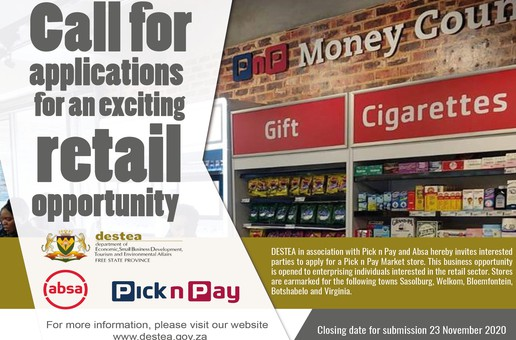 CALL FOR APPLICATIONS FOR AN EXCITING RETAIL OPPORTUNITY